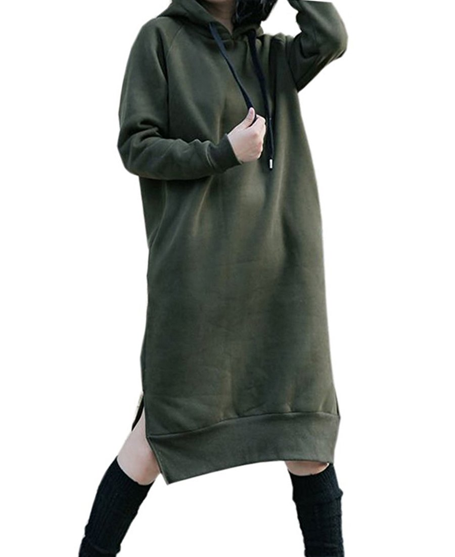NUTEXROL Women's Thickening Long Fleece Sweatshirt String Hoodie Dress Pullover Plus Size, Army Green, X-Large