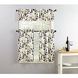 wine and grape kitchen curtains - Purple Green Beige Wine Grapes Cafe Kitchen Curtains Set Tiers & Valance Window Treatment