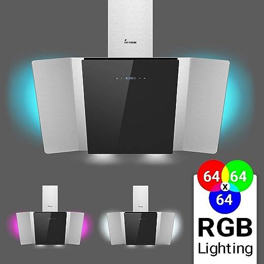 Campana extractora de pared (90 cm, acero inoxidable, cristal negro, extra silenciosa, 612m³/h, 4 escalones, iluminación LED RGBW, teclas sensoriales TouchSelect) TWICE90SM - KKT KOLBE: Amazon.es: Hogar