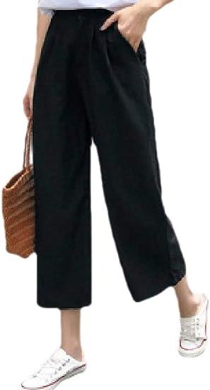 Keaac 女性ストレートリネン帝国ウエストカジュアルパラッツォワイドレッグパンツ