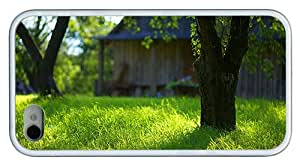 Hipster iPhone 4 good case summer garden green grass TPU White for Apple iPhone 4/4S