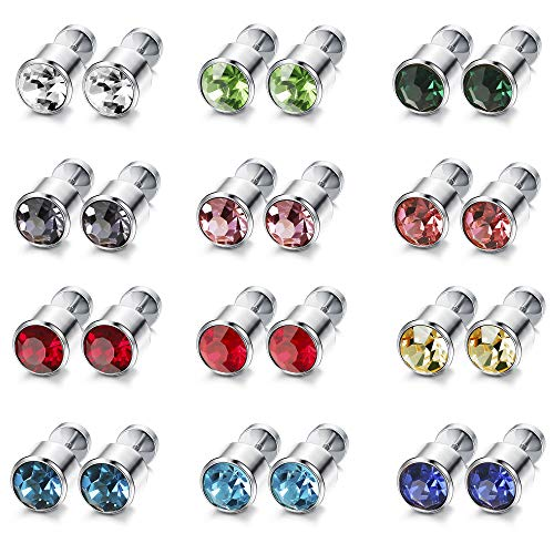 ORAZIO 12 Pairs Stainless Steel CZ Stud Earrings for Women Girls Cubic Zirconia Cartilage Stud Earring Screwback 3mm 4mm 5mm 6mm 7mm 8mm (F:7MM Stone)