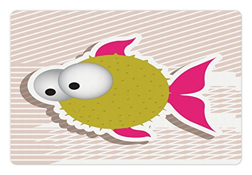 Huge Mother Of Pearl - Ambesonne Fish Pet Mat for Food and Water, Comical Illustration of a Bubble Fish Abstract Blowfish with Huge Eyes, Rectangle Non-Slip Rubber Mat for Dogs and Cats, Fuchsia Gold Pearl White