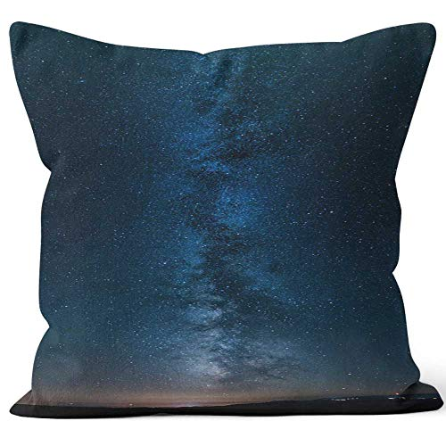 Nine City Panorama of The Milky Way Throw Pillow Cushion Cover,HD Printing Decorative Square Accent Pillow Case - Milky Panorama Way