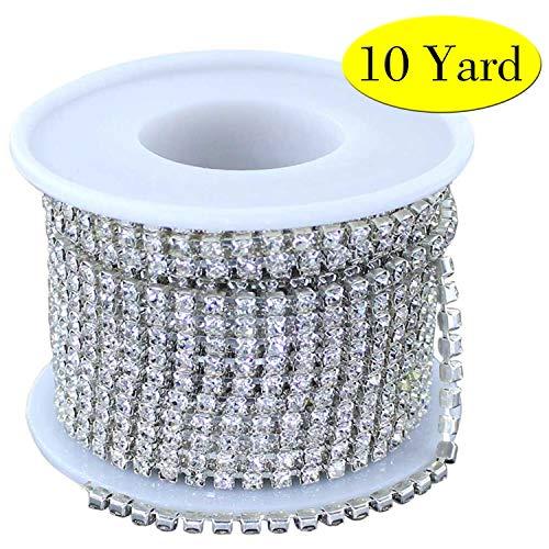 (Super Sparkling 3MM 10Yard Clear Glass Crystal Rhinestone Chain Close Trim Cup Chain Bulk for Craft Body Jewelry Making (Silver))