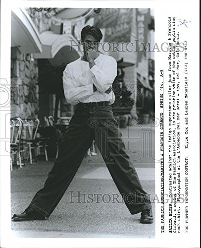 - 1994 Press Photo Marithe and Francois Girbaud Fashion Spring Sailor Blues