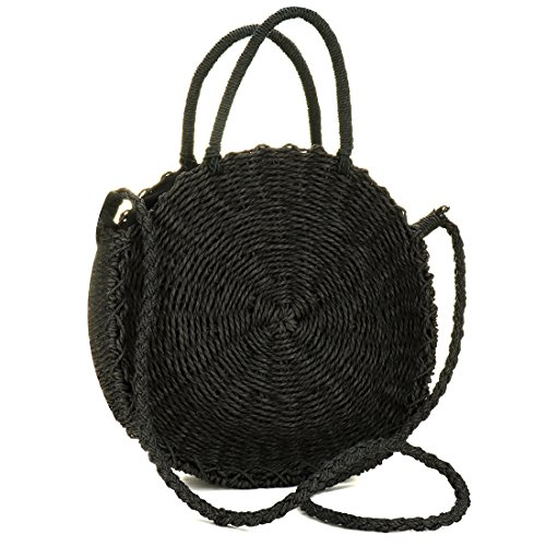 YYW Women's Straw Bag Chic Handbag Woven Summer Beach Tote Bags with Round Handle Ring