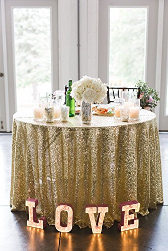 Cheapest 10PCS 120inch Round Sequin Tablecloth Light Gold, Gold Table Cloth Sparkly Wedding Tablecloth Evening Party Decoration by LQIAO