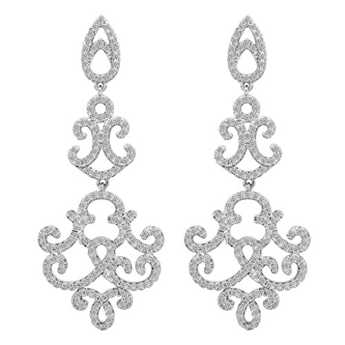 EVER FAITH 925 Sterling Silver Cubic Zirconia Vintage Inspired Art Deco Chandelier Dangle Earrings Clear