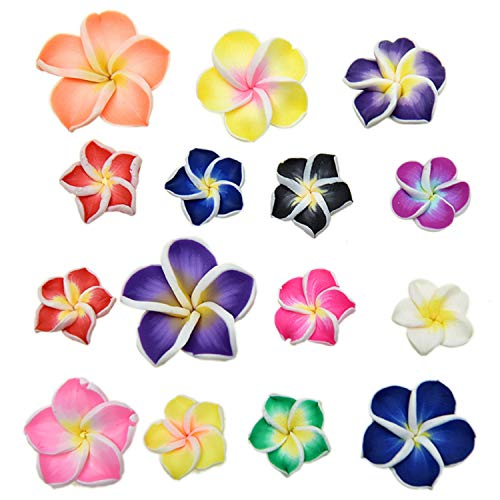 - Pomeat 50pcs Mix Polymer Clay Beads Flower Spacer Loose Fimo Beads
