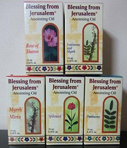 Lot of 5 Blessing from Jerusalem Anointing oils 10ml (.34 fl.oz.) Frankincense & Myrrh, Spikenard, Rose of Sharon, Frankincense, Myrrh