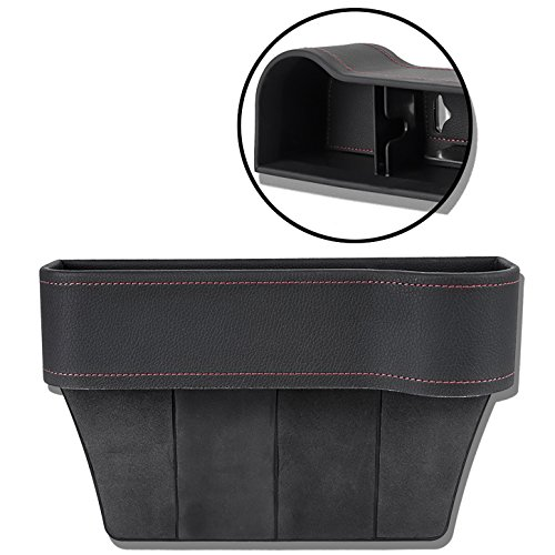 Update Version Auto Front Seat Organizer Console Side Pocket, Leather, Black with Hole for USB Cable, Car Drinks Cup Cell Phone Card Wallet Sunglasses Holder