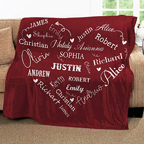 Personalized Name Blankets for Baby, Kids and Adults, Mom, Grandma. Custom Name Blanket from Your Names. Close to Heart Customized Throw. Gift for Mothers Day, Christmas (Burgundy, Fleece 50