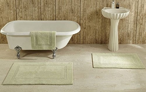 Better Trends Lux Collection is Ultra Soft Plush and Absorbent Tufted Bath Mat Rug 100 Percent Cotton in Vibrant Colors, 2 Piece Set, Sage - 100% Cotton Tufted Reversible Bath Rug Heirloom quality in Solid Race Track Pattern Its soft, plush, double sided and extra thick all cotton bath rug and super absorbent, Lux Collection is available in a number of colors, shapes and sizes - bathroom-linens, bathroom, bath-mats - 51FZwl%2BblZL -