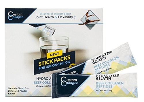 Collagen Peptide Stick Packs, 30 Count - Clean Collagen® - Beef Collagen, Pasture Raised, Grass Fed, Paleo, Non GMO, Kosher - Highly Soluble Protein