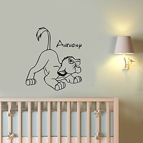 Simba Boy Name Vinyl Wall Sticker Personalized Decal Lion King Art Housewares Decorations for Home Kids Childrens Room Nursery Bedroom Disney Decor ling17