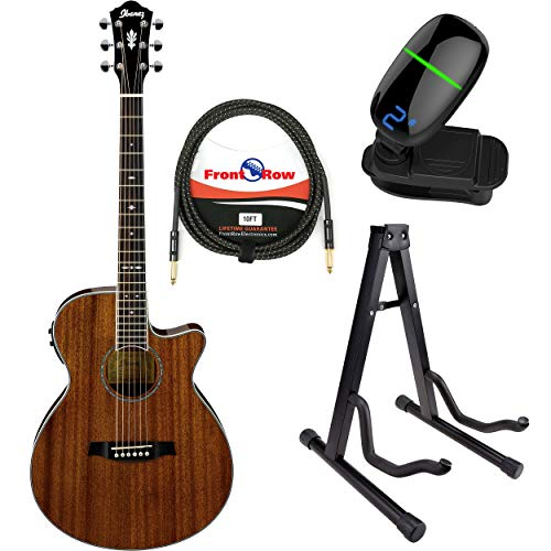 Ibanez AEG12II Acoustic/Electric Guitar with Front Row Cable, Tuner and Guitar Stand (Natural)