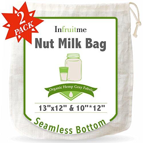 Seamless Reusable Nut Milk Bag - 2 Pack (13