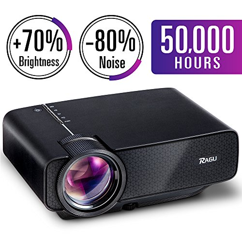 RAGU Z400 Mini Projector, Multimedia Home Theater Video Projector with +21% Lumens 50,000Hours Support HDMI VGA USB AV SD Connected with Laptop/iPad Smartphone Xbox for Movie Game Party(2018 Upgraded)