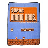 "BIOWORLD Nintendo Super Mario Bros Retro Fleece Throw Blanket, 48"" x 60"""