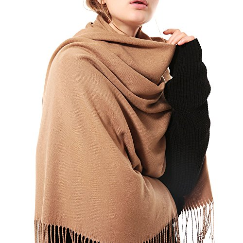Thick Camel (Womens Thick Soft Cashmere Wool Pashmina Shawl Wrap Scarf - Aone Warm Solid Color Stole(Camel))