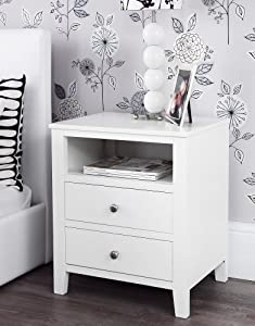 Brooklyn White Bedside Table with 2 drawers and shelf ...