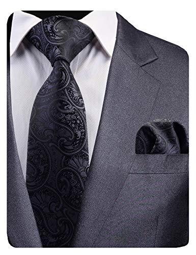 (GUSLESON New Black Paisley Tie for Men Silk Wedding Necktie and Pocket Square Set (0783-16))