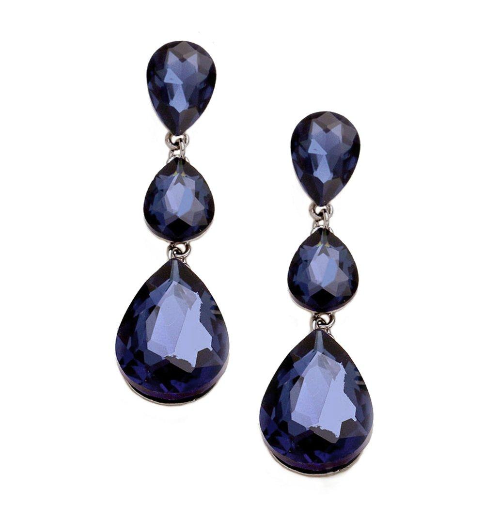 "Extra Long and Chunky Montana Blue 3 Teardrop Rhinestone Dangle Drop Earrings 3 1/8"" Long"