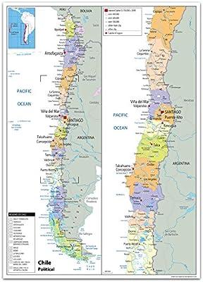 Chile Mapa Politico Papel Laminado Ga Color Transparente A0
