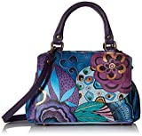 Anna by Anuschka Hand Painted Leather Women's Small MULTICOMPARTMENT Satchel, tribal potpourri eggplant
