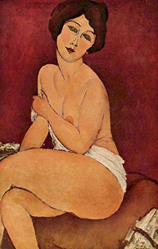 Amedeo Modigliani - Nude Sitting on a Divan (La Belle Romaine), Size 14x24 inch, Canvas art print wall décor