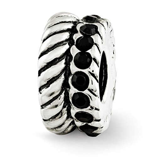 925 Sterling Silver Charm For Bracelet Black Swarovski