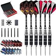 Evaduol Darts Set Steel Tip Darts - 6 Pack Barrel Darts 22G with Black Aluminum Carving Rods,12pcs of 4 Style