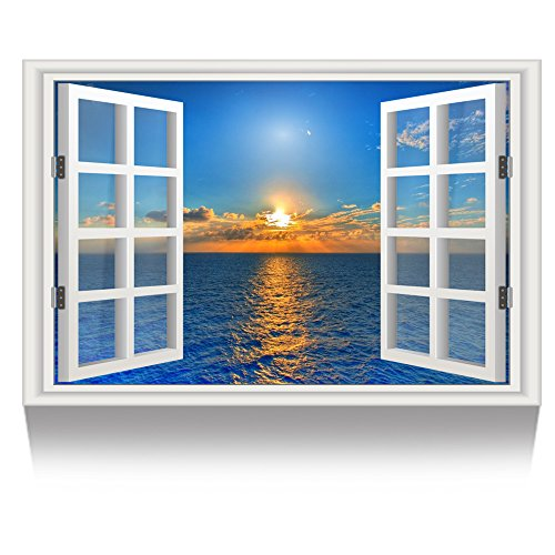 (Kreative Arts - Canvas Print Wall Art Window Frame Style Seascape Picture Wall Decor Stretched Giclee Print Gallery Wrap Modern for Home Decoration Ready to Hang (24''x36'', 1.Sunset on The)