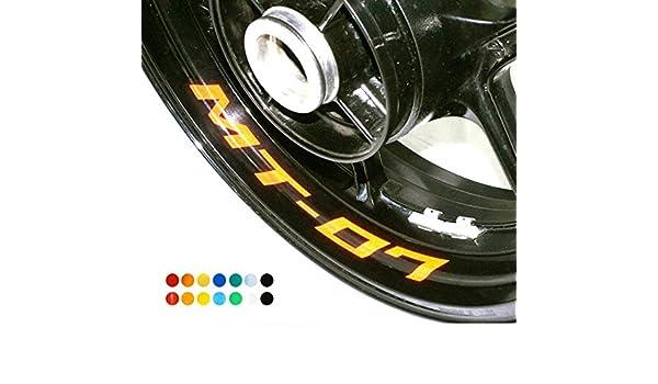 Adhesivos para llantas de moto, para Yamaha MT 07, para ruedas delantera y trasera, en los bordes interiores (8 unidades): Amazon.es: Coche y moto