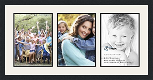 ArtToFrames Double-Multimat-1081-61/89-FRBW26079 Collage Photo Frame Double Mat with 3-9.5x13 Openings and Satin Black Frame, Super White, 3-9.5x13