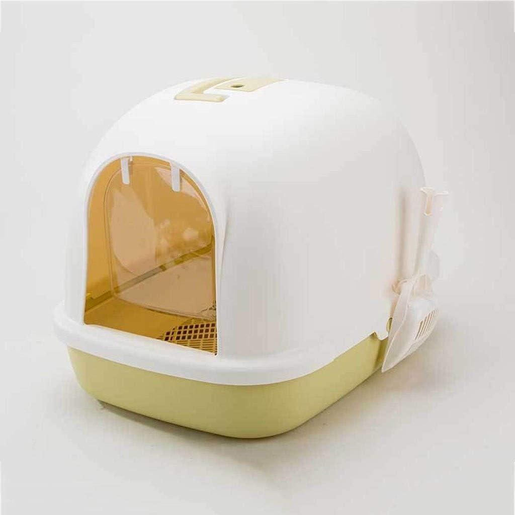 Cat House lettiere for Gatti Vassoio Clip Stampato integralmente Maniglia e Swing Porta lettiere for Gatti Box ZHOUMEI Accogliente Cat igienici Colore: Verde, Size: 58 * 44 * 42cm