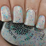 Rain Daisy | White Crelly Nail Polish with Magenta, Yellow, Aqua, Teal and Periwinkle Matte Glitter | by Black Dahlia Lacquer