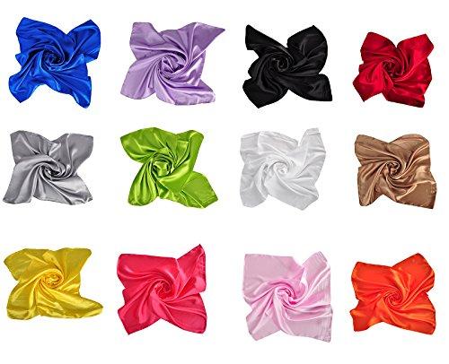Women's Fashion Soft Satin Square Scarf Set Head Neck Multiuse Solid Colors Available (Multicolor 12PCS B)