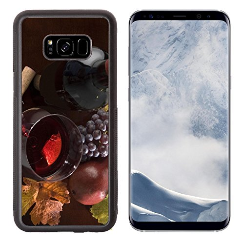 Liili Premium Samsung Galaxy S8 Plus Aluminum Backplate Bumper Snap Case IMAGE ID: 2923856 red wine still life with bottle grapes pear cork corkscrew fall colors on wood surface Cabernet Pear