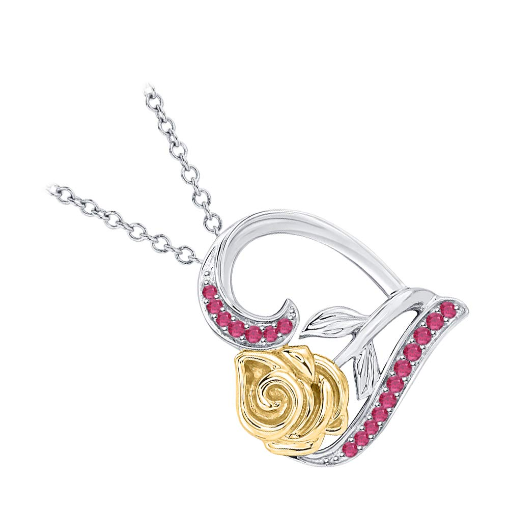 Dazzling Rose Flower Heart Pendant Necklace Gemstones 14k Two-Tone Gold Over .925 Sterling Silver for Womens