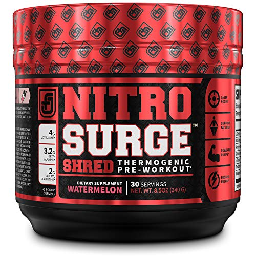 NITROSURGE Shred Pre Workout Supplement - Limitless Energy, Instant Strength Gains, Sharp Focus, Powerful Pumps - Nitric Oxide Booster & PreWorkout Powder - 30Sv, Watermelon