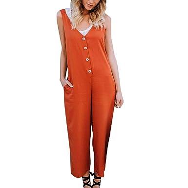 Logobeing Jumpsuits Mujer Pantalones de Babero de Tirantes Batas Casuales Mono Corto de Dungaree Bodysuit: Amazon.es: Ropa y accesorios