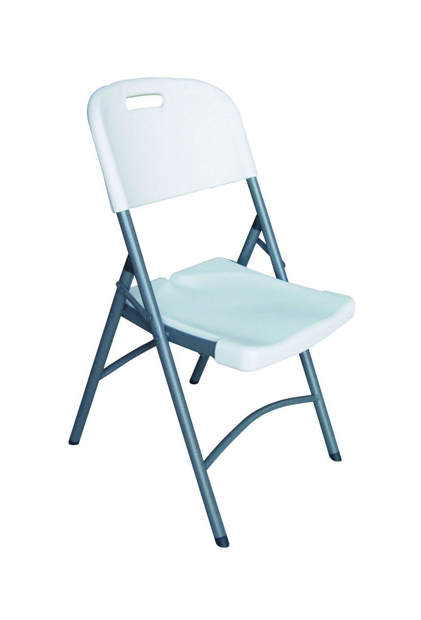 White Commercial Folding Chairs - Stackable, Lightweight & Sturdy, Molded Seat & Back - Ideal For Special Occasions & Everyday Use, Stores easily - 4 Pack, By Ontario Furniture by Ontario Furniture
