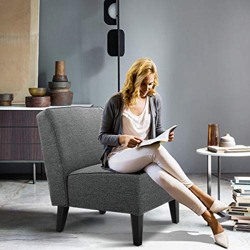 Armless Accent Reading Chair for Small Spaces