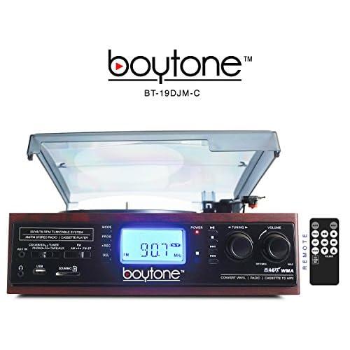 Boytone BT-19DJM-C 3-speed Turntable, 2 Built in Speakers Large Digital Display AM/FM, Cassette, USB/SD/AUX/MP3, Recorder & WMA Playback /Recorder & Headphone Jack + Remote Control