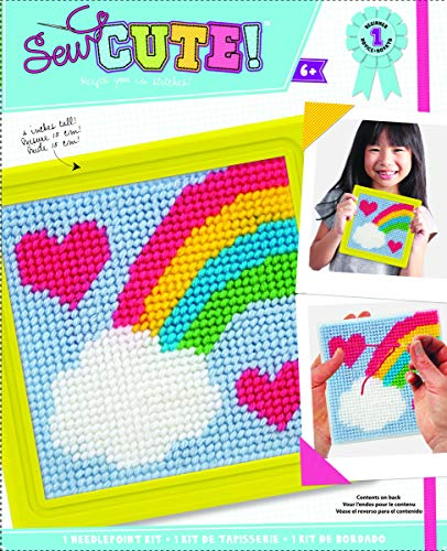 Colorbok 61904 Rainbow Learn To Sew Needlepoint Kit, 6-Inch by 6-Inch, Yellow Frame ()