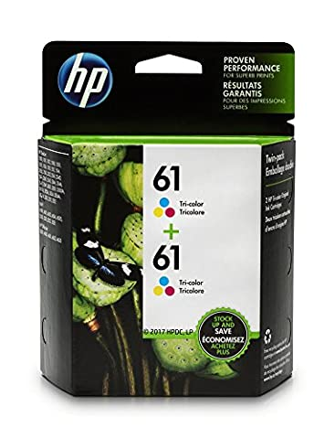 HP 61 Tri-color Original Ink Cartridges, 2 Cartridges (CZ074FN) (Hp Ink 61 Color And Black)