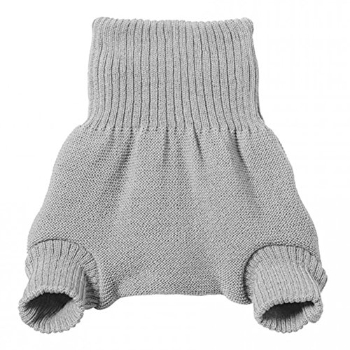 EcoAble Apparel Wool Diaper Cover for Cloth Diapers - 100% Merino Wool Double Knit (62-68cm/3-6 months, Grey)