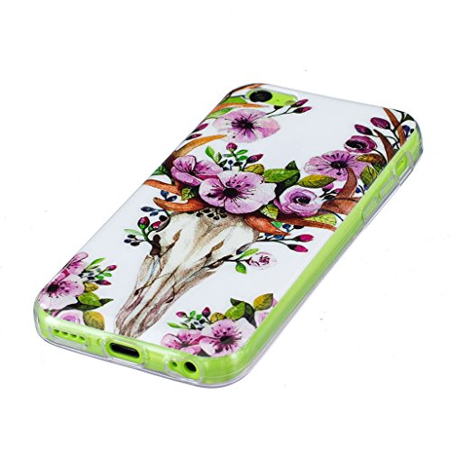 Coque iPhone 5C, IJIA Ultra-mince Transparent Noctilucent Cerf Sika Fleur TPU Doux Silicone Bumper Case Cover Shell Skin Housse Etui pour Apple iPhone 5C + 24K Or Autocollant